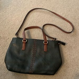 Fossil Black and Brown Crossbody Leather Bag